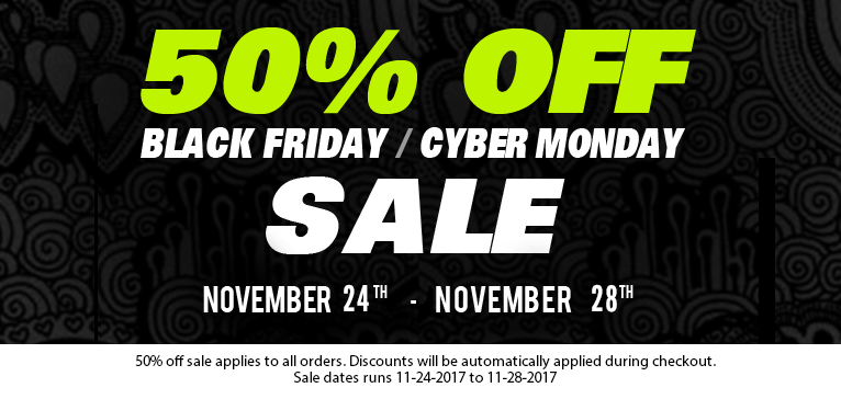 Black Friday Deal - Save 50% on all orders now through november 28th.
